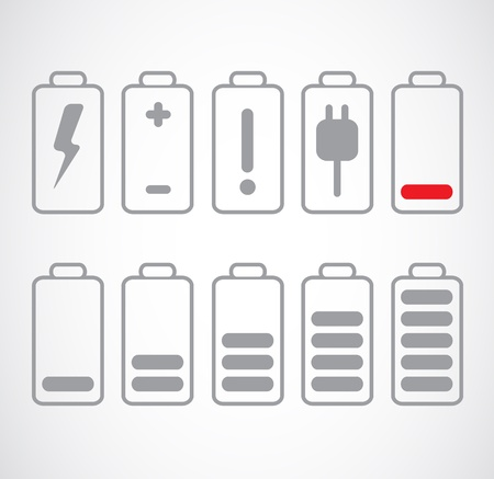 Set of gray battery charge level on white. Stock Vector - 20732093