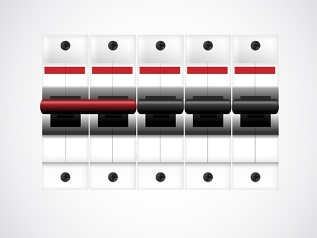 Circuit breakers on white. illustration