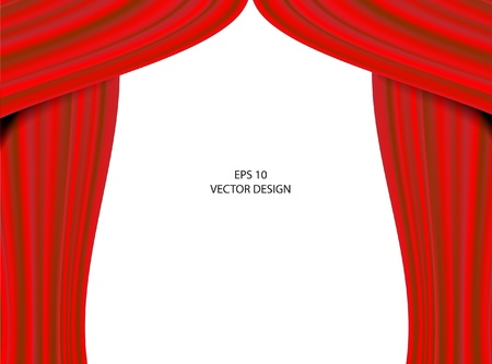 Red theater curtain on white background.  Vector