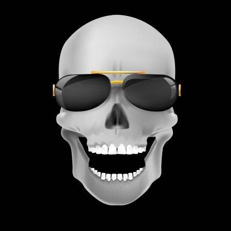 Human skull on dark background  Vector