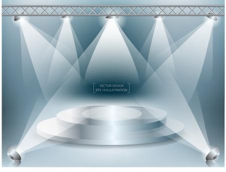 podium met verlichting Vector illustratie