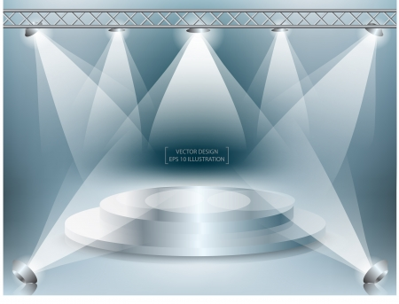 spotlight on stage: stage with lights  Vector illustration
