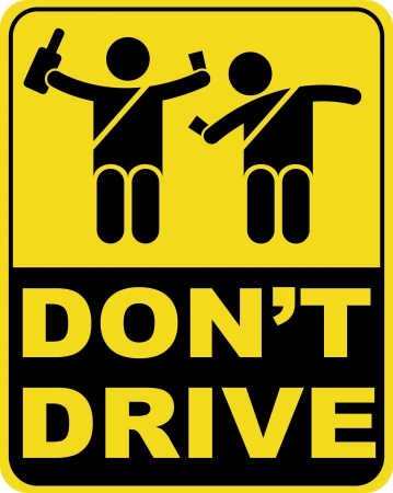 warning back:  don t drink and drive sign   Illustration