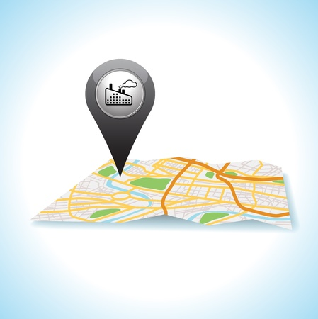 check system: factory pointer pin map location icon