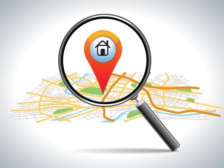zoek naar huis op de kaart locatie, vectorillustratie Stock Illustratie