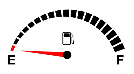 empty tank: fuel gauge empty on white