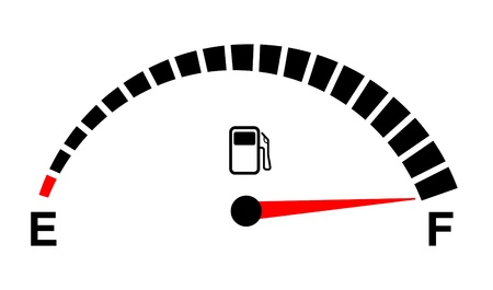 empty tank: fuel gauge full on white