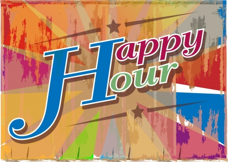 happy hour sign board illustration