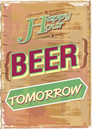 lunch hour: beer sign board illustration vector