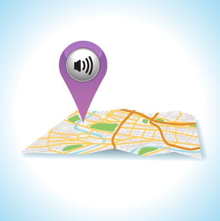 check in: icon sound on map locatuon Illustration