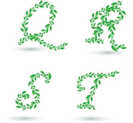 Vector set illustration a leaves letter on white  Vector