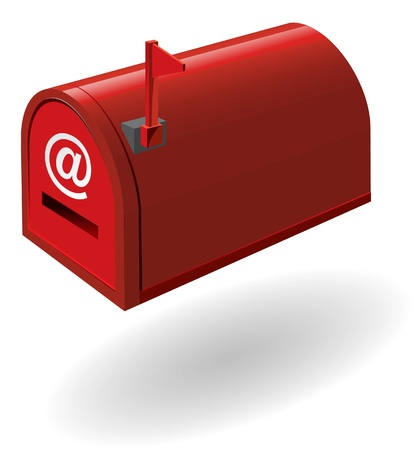 metal mailbox: red mailbox with the flag raised  Vector illustration