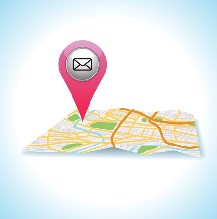 pink mail icon gps pointer   Vector