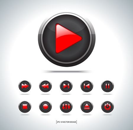 Set of media player icons on white Vector