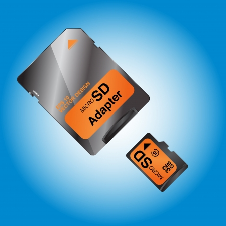 micro drive:  Micro sd card on blue background  Illustration