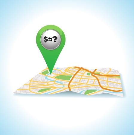 green money pointer and map location   Vector
