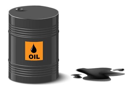 oil spill: fuoriuscita di petrolio e olio barile illustrazione vettoriale Vettoriali
