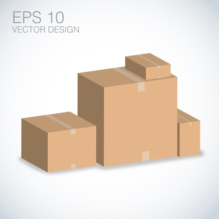 brown boxes vector illustration Stock Vector - 20832277