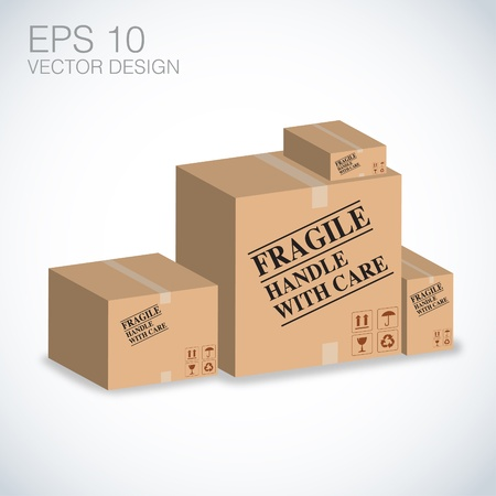 fragile handle with care on boxes Vector