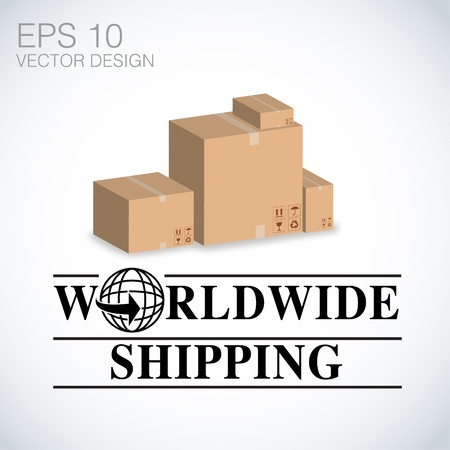 free shipping: worldwide shipping, Cardboard boxes vector design   Illustration