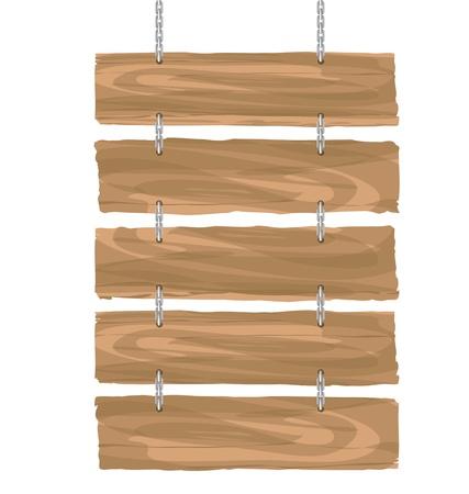 appendere: cartello in legno appeso vettore su bianco