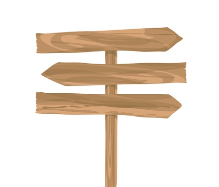 fence post: wooden sign arrow vector on white