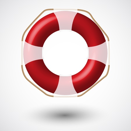 ring life: Red Life Buoy Isolated On White   Vector Illustration  Illustration