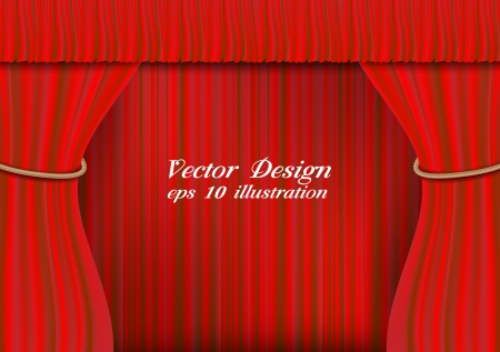 Red theater curtain vector illustration  Stock Vector - 20832562