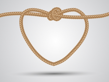 nudos: coraz�n cuerda formada sobre un fondo blanco