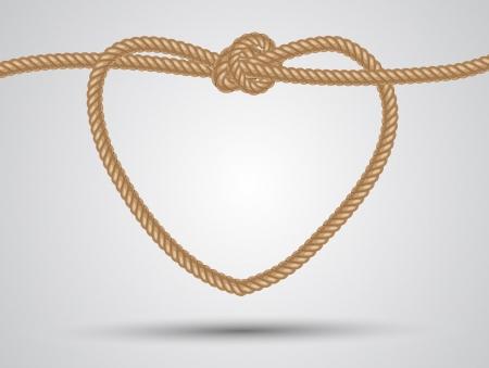 touw hart gevormd op een witte achtergrond