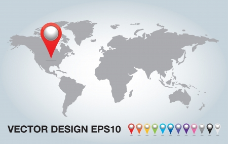 colorful 3d Pointers and world map.  Vector