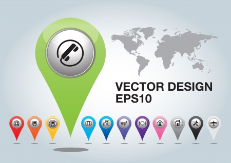 telephone , pin pointer on map location. Vector Illustration