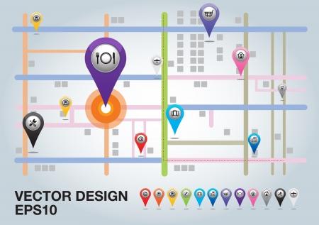 Stadskaart met Pointers. Vector illustratie.