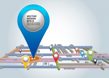 City map with Pointers  Vector illustration   Vector