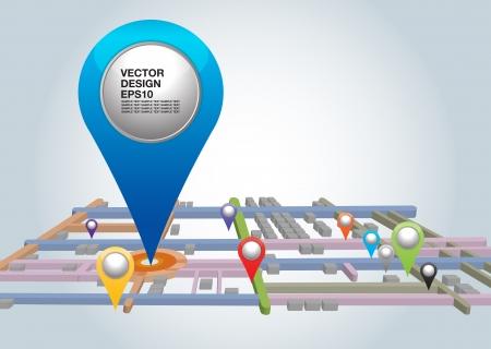 Mapa da cidade com ponteiros ilustra��o vetorial