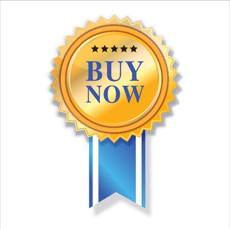 Buy now icon and blue ribbon   Vector