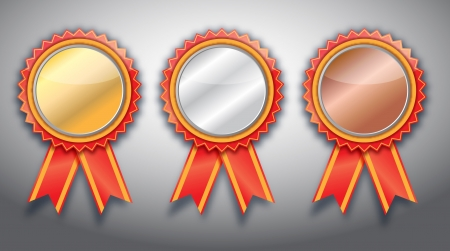 blank Gold, silver and bronze award ribbons on white
