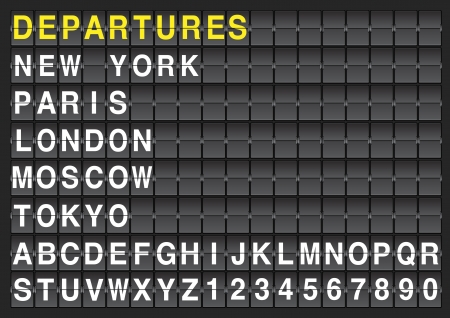 departure board: Set of letters on a mechanical timetable