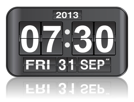 score board: flip clock with date and  timer vector illustration