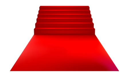 Staircase with red carpet  Vector Illustration