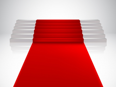 Staircase with red carpet  Vector Illustration Vector
