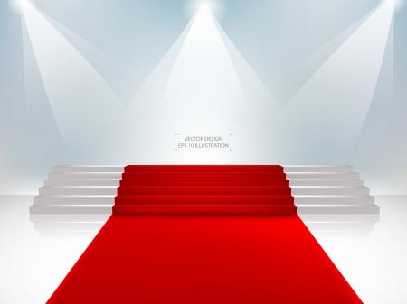rojo: Escalera con alfombra roja Ilustración vectorial