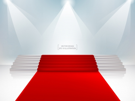 red carpet event: Staircase with red carpet  Vector Illustration