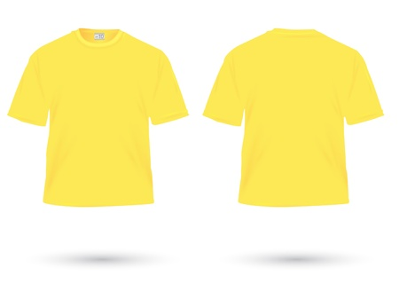 man t shirt: yellow t-shirt illustration on white