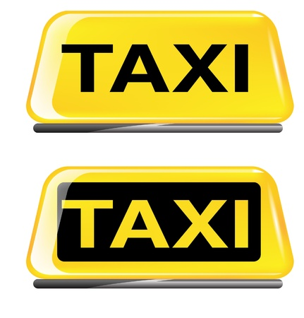 Taxi sign on white background  Çizim