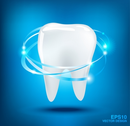 3d teeth protection on blue background   Vector