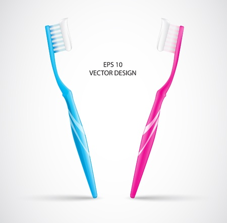 oral hygiene: bule, pink Toothbrush and gel toothpaste