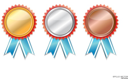 blank Gold, silver and bronze award ribbons on white  Vector