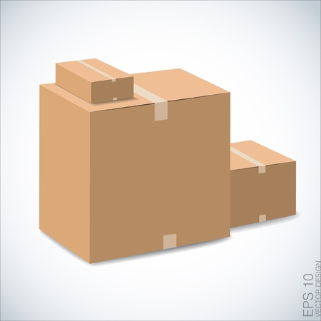 brown boxes recycle on white   Vectores