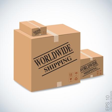 brown box: trasporto scatola marrone in tutto il mondo su bianco
